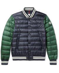 Moncler | Blue Enrick Slim-fit Stripe-trimmed Quilted Shell Down Bomber Jacket for Men | Lyst