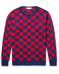 Marc Jacobs | Blue Distressed Checkerboard Wool Sweater for Men | Lyst