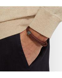 Bottega Veneta | Brown Intrecciato Braided Leather And Oxidised Silver Bracelet for Men | Lyst