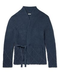 Eidos - Blue Ribbed-knit Cotton Wrap Cardigan for Men - Lyst