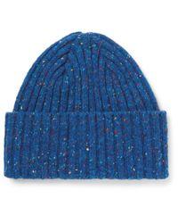 Drake's - Blue Ribbed Donegal Merino Wool Beanie for Men - Lyst