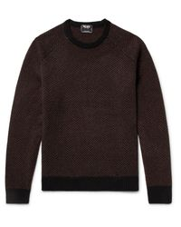 Todd Snyder - Brown Slim-fit Herringbone Intarsia Cashmere Sweater for Men - Lyst