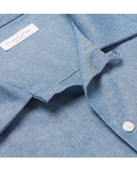 Richard James - Blue Camp-collar Cotton-chambray Shirt for Men - Lyst