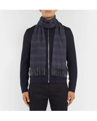 Hackett - Blue Fringed Checked Cashmere Scarf for Men - Lyst