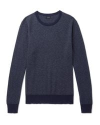 J.Crew - Blue Mélange Cotton-piqué And Cashmere-blend Sweater for Men - Lyst
