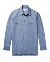Marc Jacobs Blue Slim-fit Cotton-chambray Western Shirt for men
