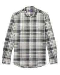 Ralph Lauren Purple Label - Gray Stewart Checked Cotton And Cashmere-blend Shirt for Men - Lyst