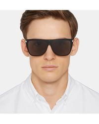 Saint Laurent - Black D-frame Acetate And Silver-tone Sunglasses for Men - Lyst