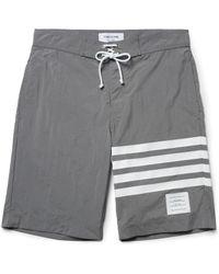 Thom Browne   Gray Long-length Striped Swim Shorts for Men   Lyst