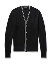 Tom Ford - Black Contrast-tipped Silk And Cotton-blend Cardigan for Men - Lyst