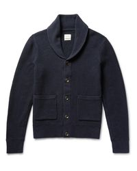Rag & Bone Blue Avery Shawl-collar Textured-knit Cotton Cardigan for men