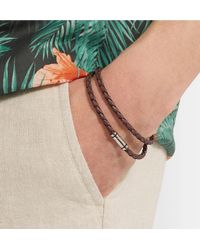 BOSS - Brown Bruno Woven Leather And Silver-tone Wrap Bracelet for Men - Lyst