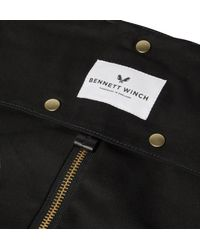 Bennett Winch - Black Leather-trimmed Cotton-canvas Suit Carrier And Holdall for Men - Lyst