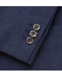 Boglioli - Blue Navy Slim-fit Unstructured Basketweave Linen And Cotton-blend Blazer for Men - Lyst