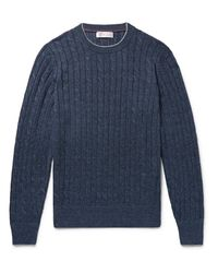 Brunello Cucinelli - Blue Slim-fit Contrast-tipped Cable-knit Linen And Cotton-blend Sweater for Men - Lyst