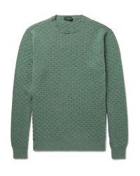 Incotex - Green Textured-knit Virgin Wool Sweater for Men - Lyst