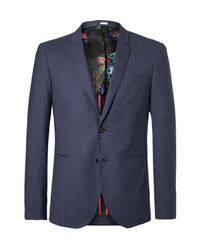 PS by Paul Smith | Blue Buggy Slim-fit Checked Wool Blazer for Men | Lyst