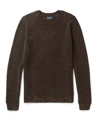 Giorgio Armani - Brown Mélange Ribbed-knit Sweater for Men - Lyst