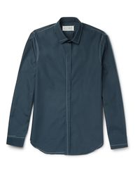 Maison Margiela - Blue Contrast-stitched Cotton-poplin Shirt for Men - Lyst