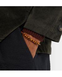 Bottega Veneta - Brown Tiger's Eye Bead And Oxidised Silver Bracelet for Men - Lyst