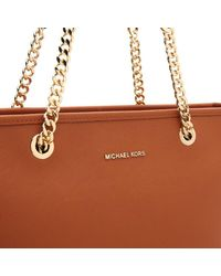 MICHAEL Michael Kors | Brown Women's Jet Set Travel Chain Top Zip Tote Bag | Lyst