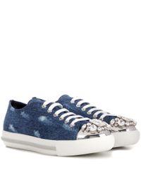 Miu Miu - Blue Crystal-embellished Denim Sneakers - Lyst
