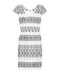 Velvet - Gray Yandel Embroidered Cotton Dress - Lyst