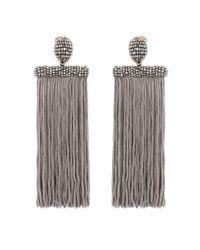 Oscar de la Renta - Gray Clip-on Tassel Earrings - Lyst