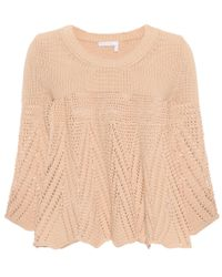 Chloé - Natural Crocheted Cotton Sweater - Lyst
