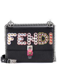 Fendi - Black Kan I Small Leather Shoulder Bag - Lyst