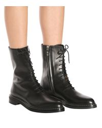 The Row - Black Fara Leather Ankle Boots - Lyst