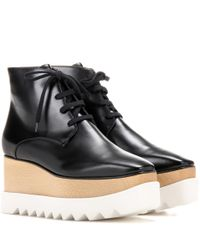 Stella McCartney - Black Platform Faux-Leather Ankle Boots - Lyst