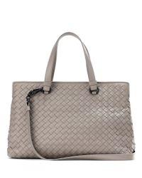 Bottega Veneta | Gray Intrecciato Leather Tote | Lyst
