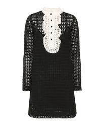 RED Valentino - Black Knitted Wool Mini Dress - Lyst