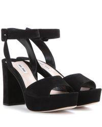 Miu Miu - Black Suede Platform Sandals - Lyst