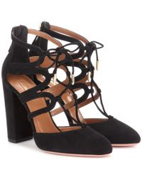 Aquazzura - Black Holli 105 Cut-out Suede Ankle Boots - Lyst