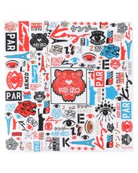 KENZO Red Printed Silk Scarf