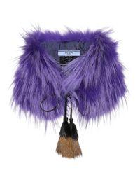 Prada - Purple Fur Stole - Lyst