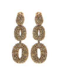 Oscar de la Renta - Metallic Oscar O Beaded Earrings - Lyst