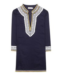 Tory Burch - Blue Embroidered Cotton Tunic - Lyst