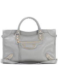 Balenciaga - Gray Classic Metallic Edge City Leather Tote - Lyst