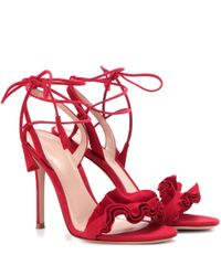 Gianvito Rossi | Red Flora Suede Sandals | Lyst