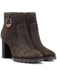 Tory Burch - Green Sofia Suede Ankle Boots - Lyst