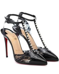 Christian Louboutin - Black Nosy Spikes Pvc And Leather Pumps - Lyst