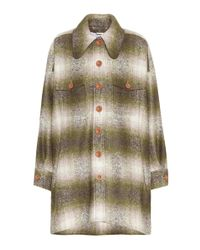 Chloé - Green Mohair-blend Plaid Coat - Lyst