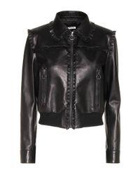 Miu Miu - Black Ruffle-trimmed Leather Jacket - Lyst