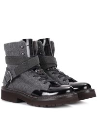Brunello Cucinelli - Gray Fabric And Patent Leather Ankle Boots - Lyst