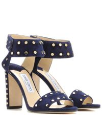 Jimmy Choo - Blue Veto 100 Embellished Leather Sandals - Lyst