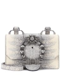 Miu Miu | Gray Embellished Leather Shoulder Bag | Lyst