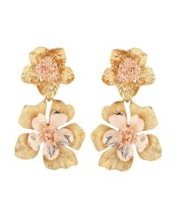 Oscar de la Renta - Metallic Floral Clip-on Earrings - Lyst